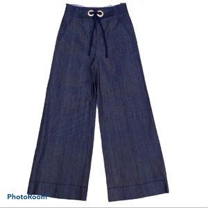 Tibi Tie Front Wide Leg Chambray Jeans Size 4